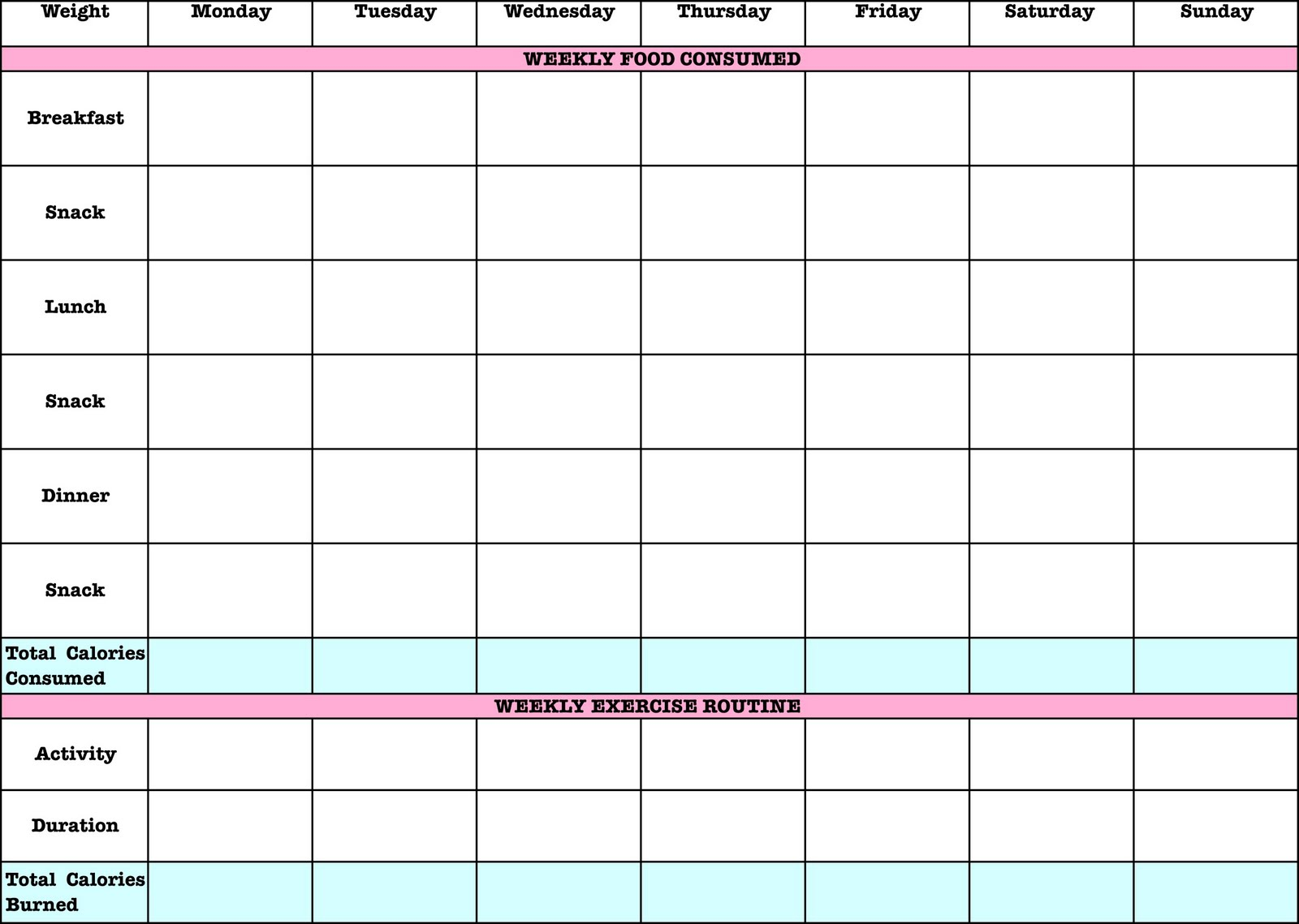 Printable Exercise Log 3 Day Pictures