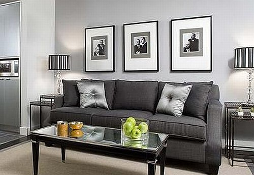 Living room design grey living room ideas for Black white and blue living room ideas