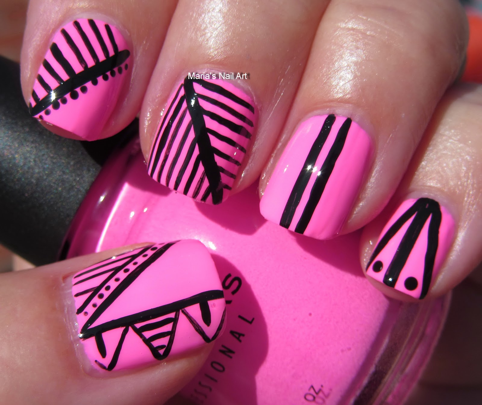 Marias Nail Art And Polish Blog Flushed With Stripes And: Marias Nail Art And Polish Blog: Black & Pink