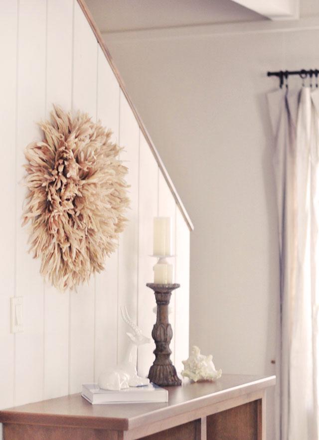 neutral decor, african feather juju hat wall art diy