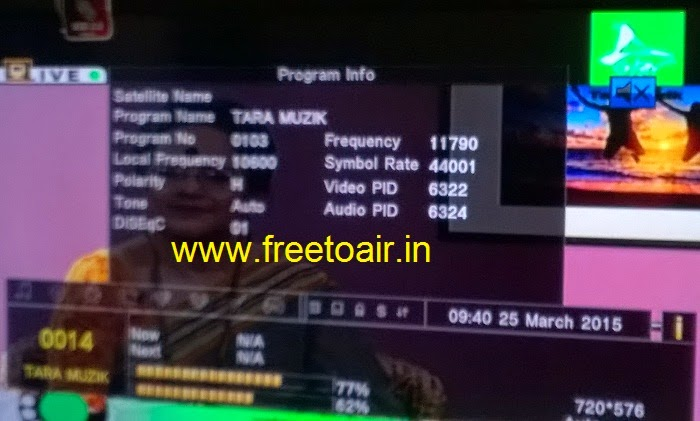 Tara Music Channel FTA from ABS-2 at 74.9° East (Ku-Band)