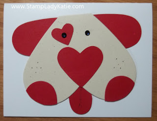 Valentine in the shape of a Dog's Face, made with Heart dies and Punches