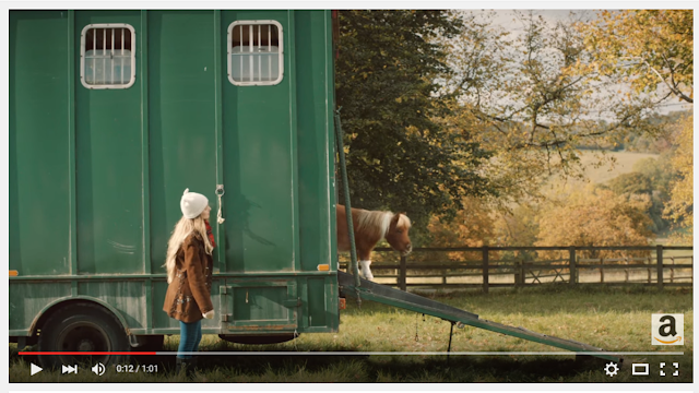 Mini pony walking down horsebox in TV add Amazon