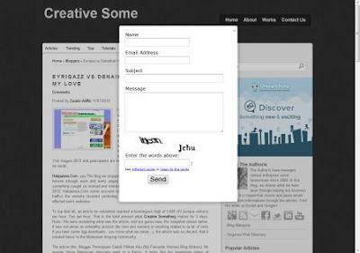 Install javascript code for pop-up contact form provided by Kontacr.com