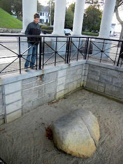 The Plymouth Rock in Plymouth Memorial State Park in Massachusetts