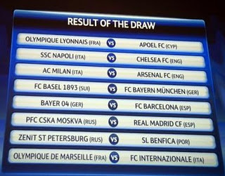 Jadwal 16 Besar Liga Champions 2012