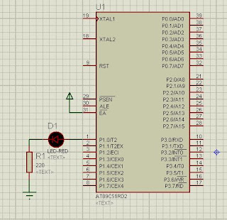 LED blinking circuit with 8051 microcontroller