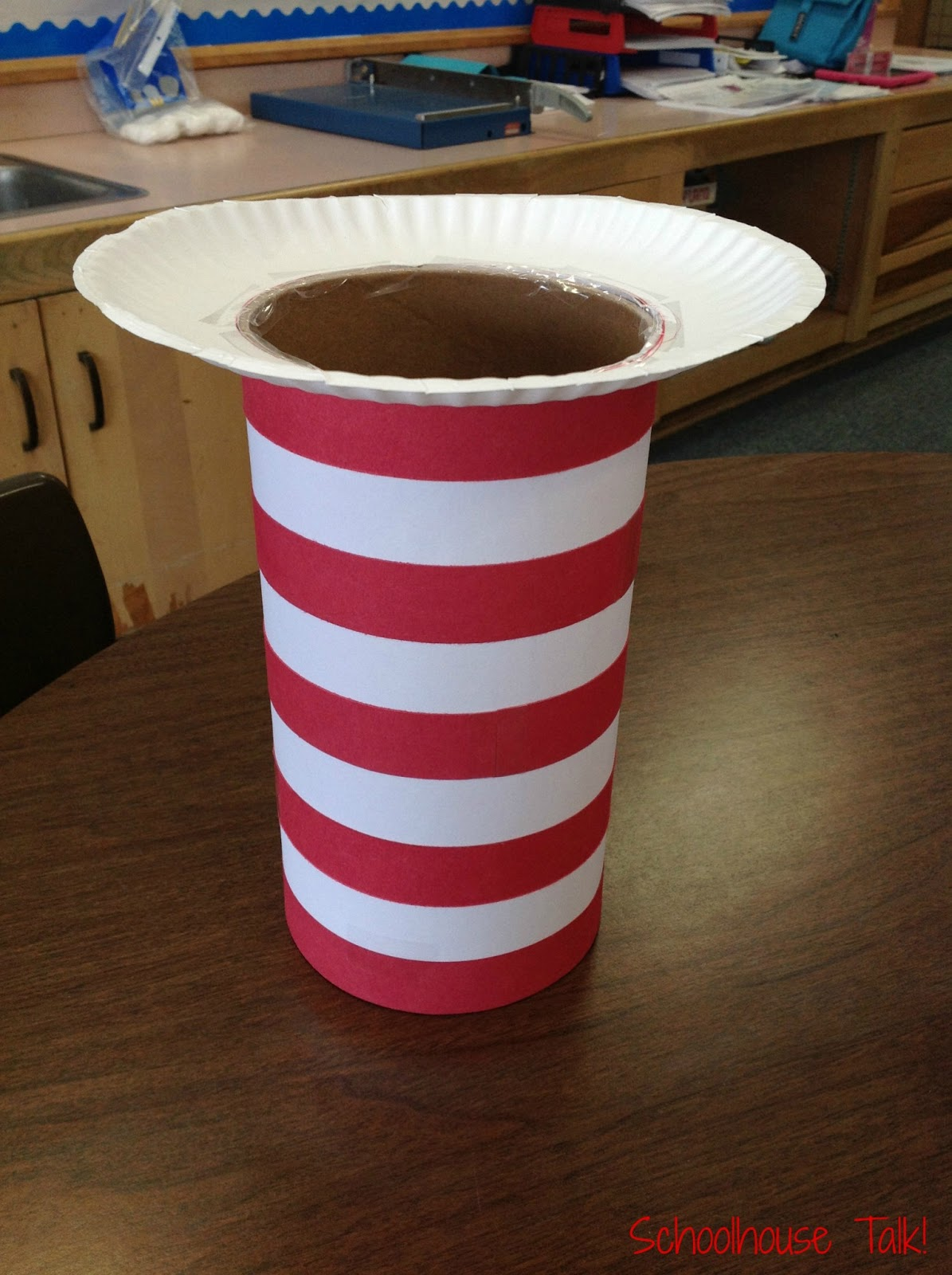 oatmeal container + construction paper + paper plate & Schoolhouse Talk!: Happy Birthday Dr. Seuss!