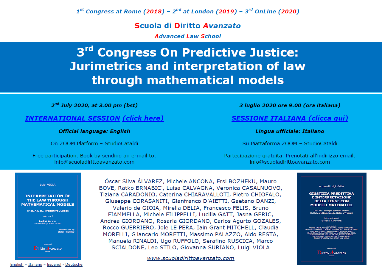 3rd Congress On Predictive Justice (2nd and 3rd July 2020)