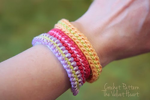 free crochet pattern color stripe bracelet