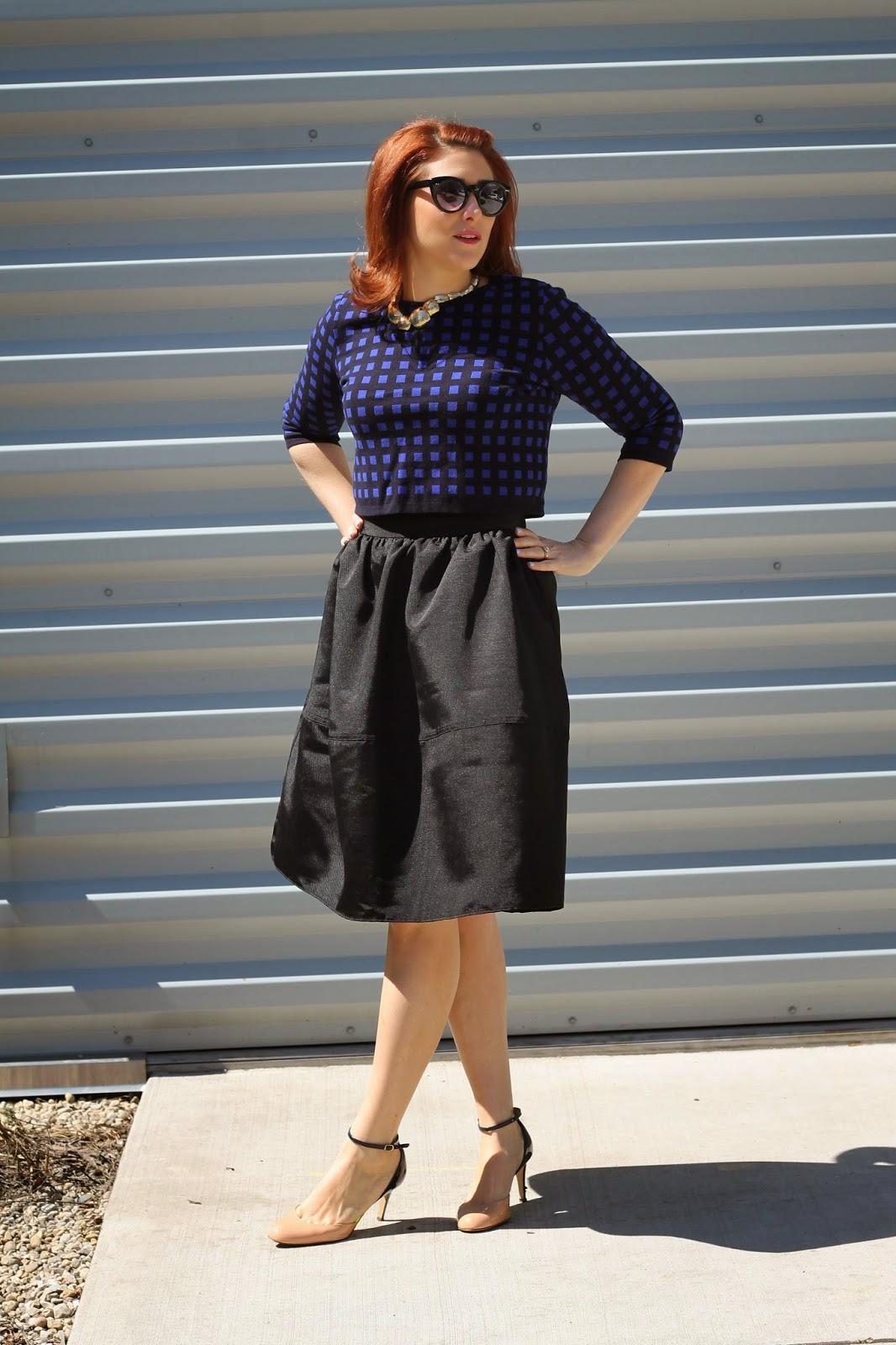 midi, skirt, black