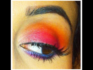 mac, mac cosmetics, eyeshadow, blog, tutorial, colorful, scichedelic, sci-chedelic, mac trends, makeup trends, tropical, pictures, matte, pink, orange, blue, stars n rockets, passionate, red brick, rule