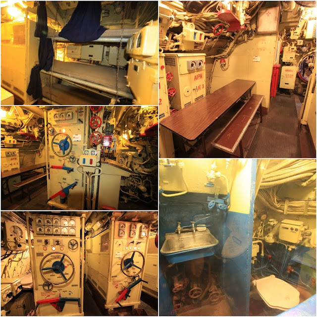 The Main Motor Room of the Scorpion Russian Submarine with the cafeteria area and more bunk beds can be seen at Long Beach, Los Angeles, California, USA