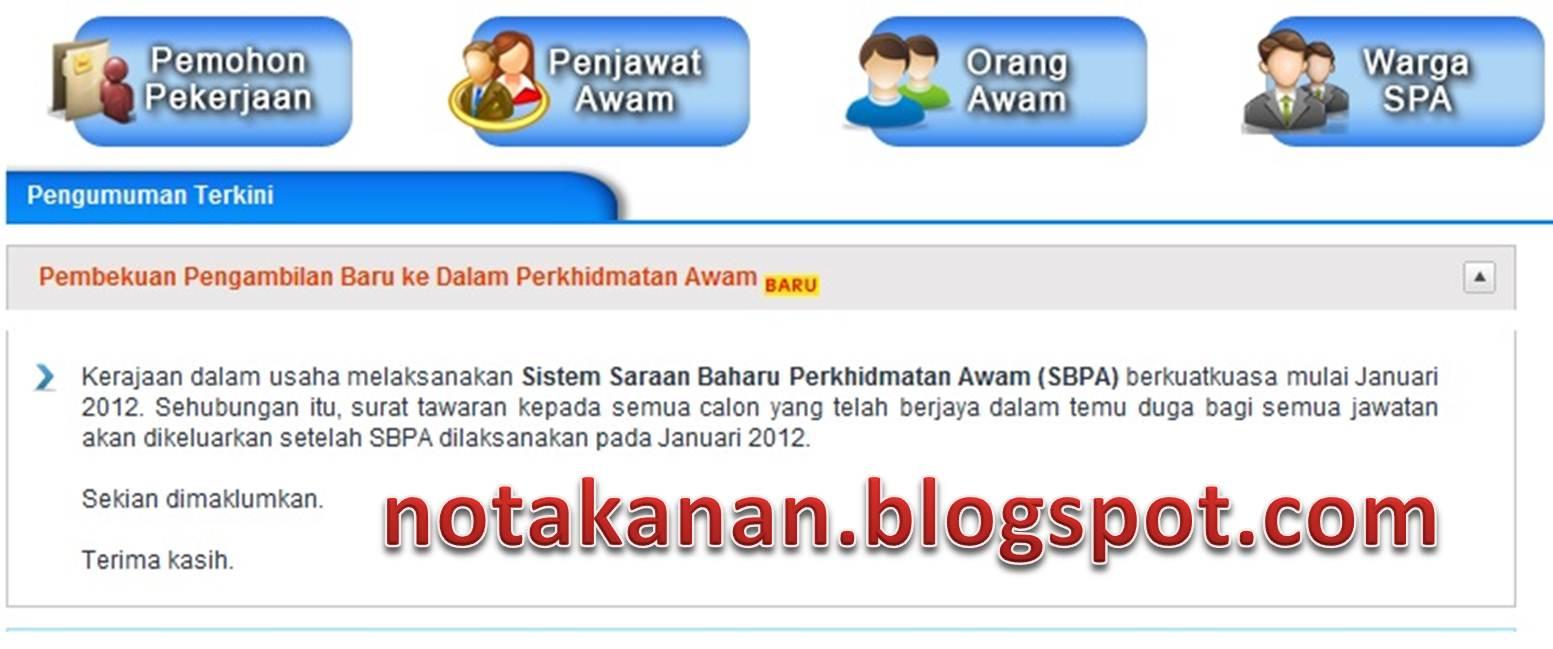 Notakanan Pengambilan Jawatan Baru Dalam Perkhidmatan Awam Dibekukan Sehingga Januari 2012