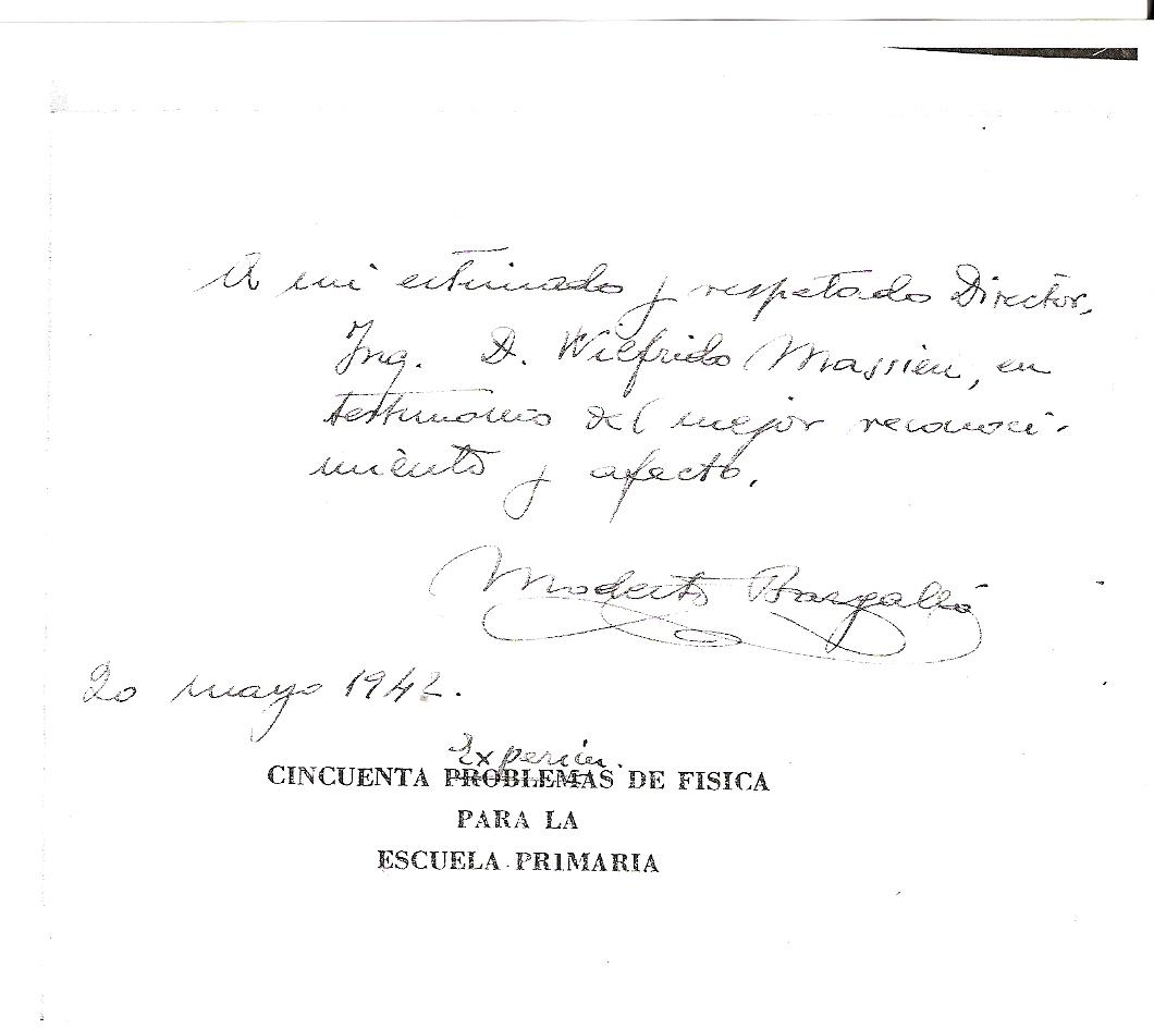primaria con la dedicatoria y agradecimiento del autor en mayo de 1942