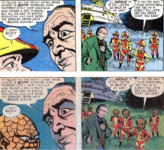 more panels comparing little human-looking aliens in Marvel Tales and scaly aliens in WWT