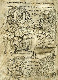 Emperor Constantine Burns Arian Scriptures at Nicaea