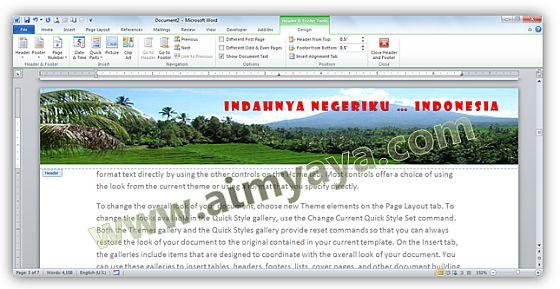 Gambar: Contoh dokumen dengan header gambar pemandangan alam