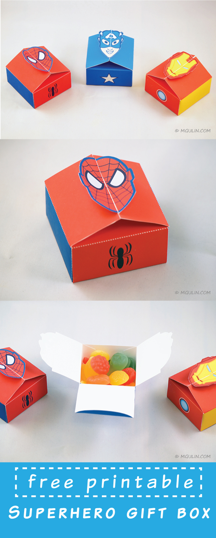 Cajas de Super Héroes para Imprimir Gratis.