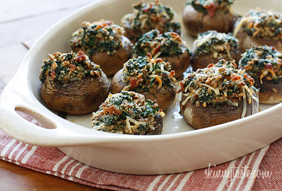 Skinny Spinach and Bacon Stuffed Mushrooms | Skinnytaste