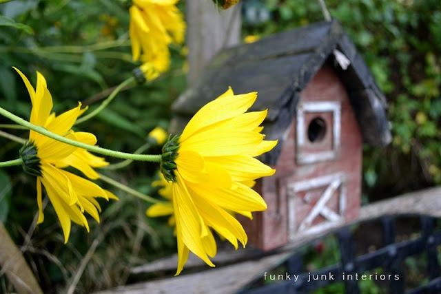 barn birdhouse / part of summer garden reveal on FunkyJunkInteriors.net