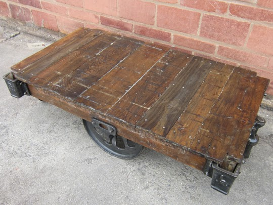 Refurbished antique railroad cart coffee tables