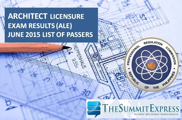 June 2015 Architect board exam (ALE) results