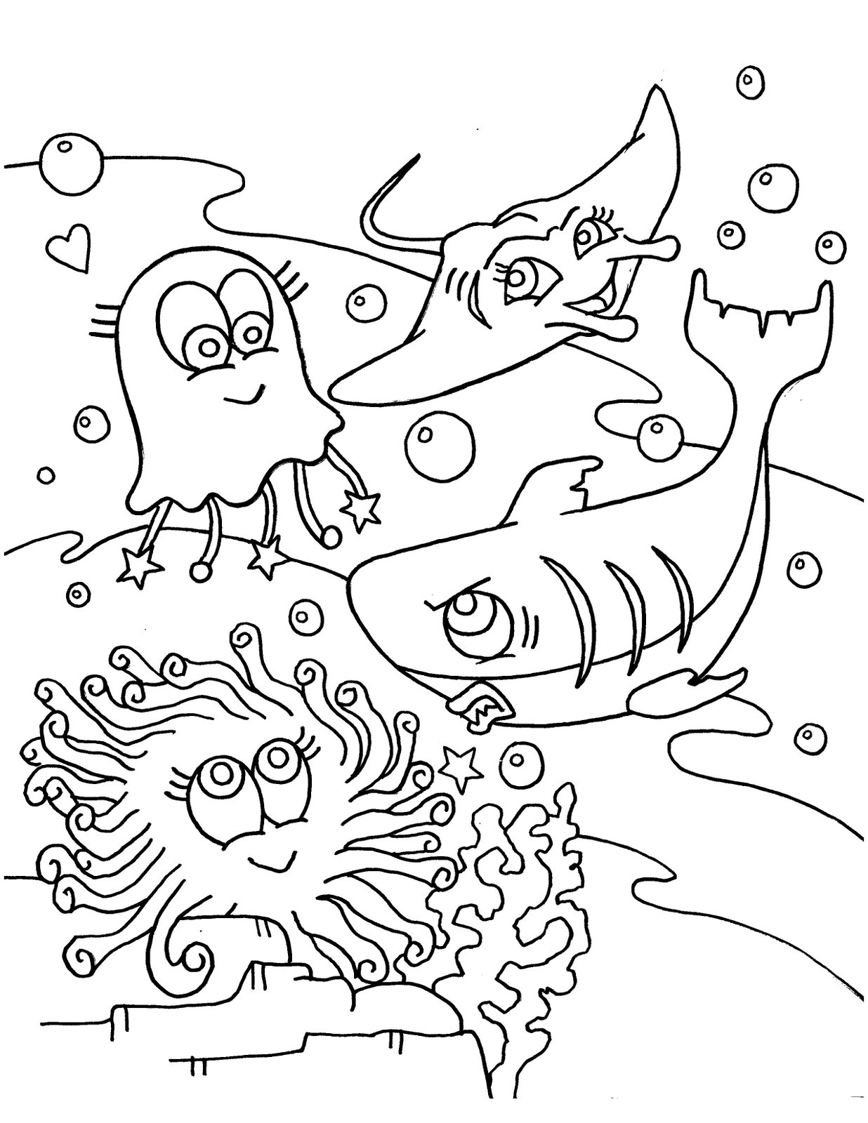 ocean animal coloring pages - Cute Ocean Animals Coloring Pages