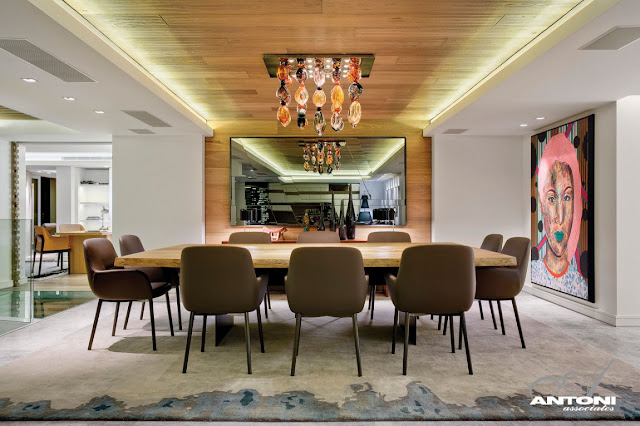 Picture of wooden table in the dining room