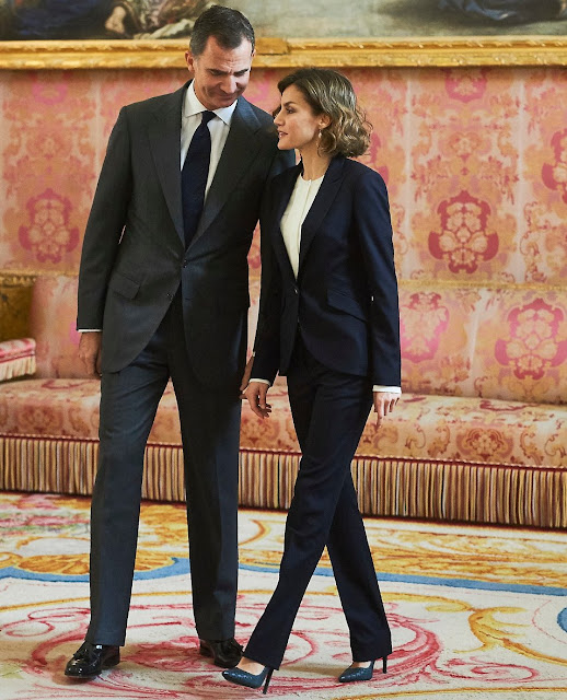 King Felipe of Spain and Queen Letizia of Spain attend meeting with Princesa de Girona Foundation at the Royal Palace