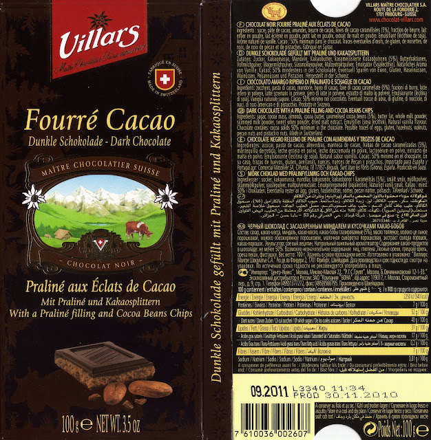 tablette de chocolat noir fourré villars fourré cacao