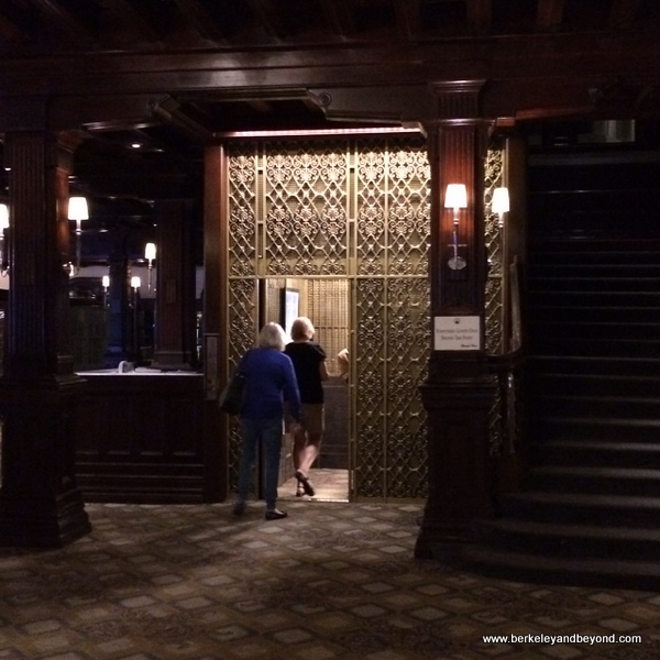 vintage elevator in lobby of Hotel del Coronado on Coronado Island in San Diego, California