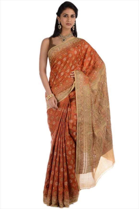 Russett Orange Art Georgette Banarasi Saree