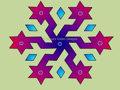 Kolam 47 : star Kolam  Interlocked dots 13 x 7