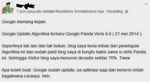 Salah Satu Dampak Update Google Panda