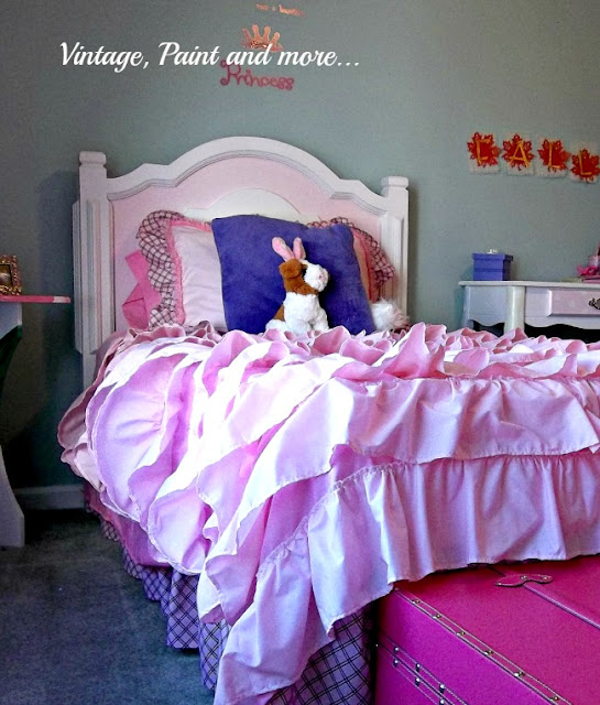 Vintage, Paint and more.. a pink girly girl room with an anthropoligie inspired bedspread