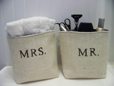 two burlap baskets - one says Mr., one Mrs.
