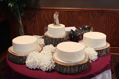 Tree slice cake stand nontraditional wedding cake