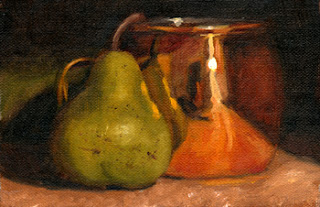 Oil painting of a green pear partially reflected in a shiny copper-plated mug.