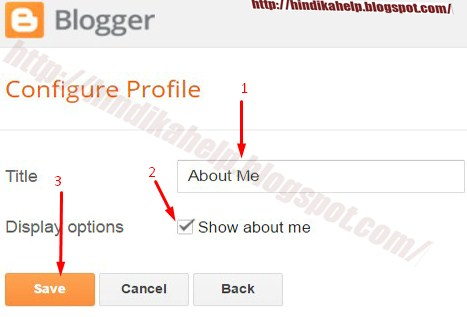 About me profile settings