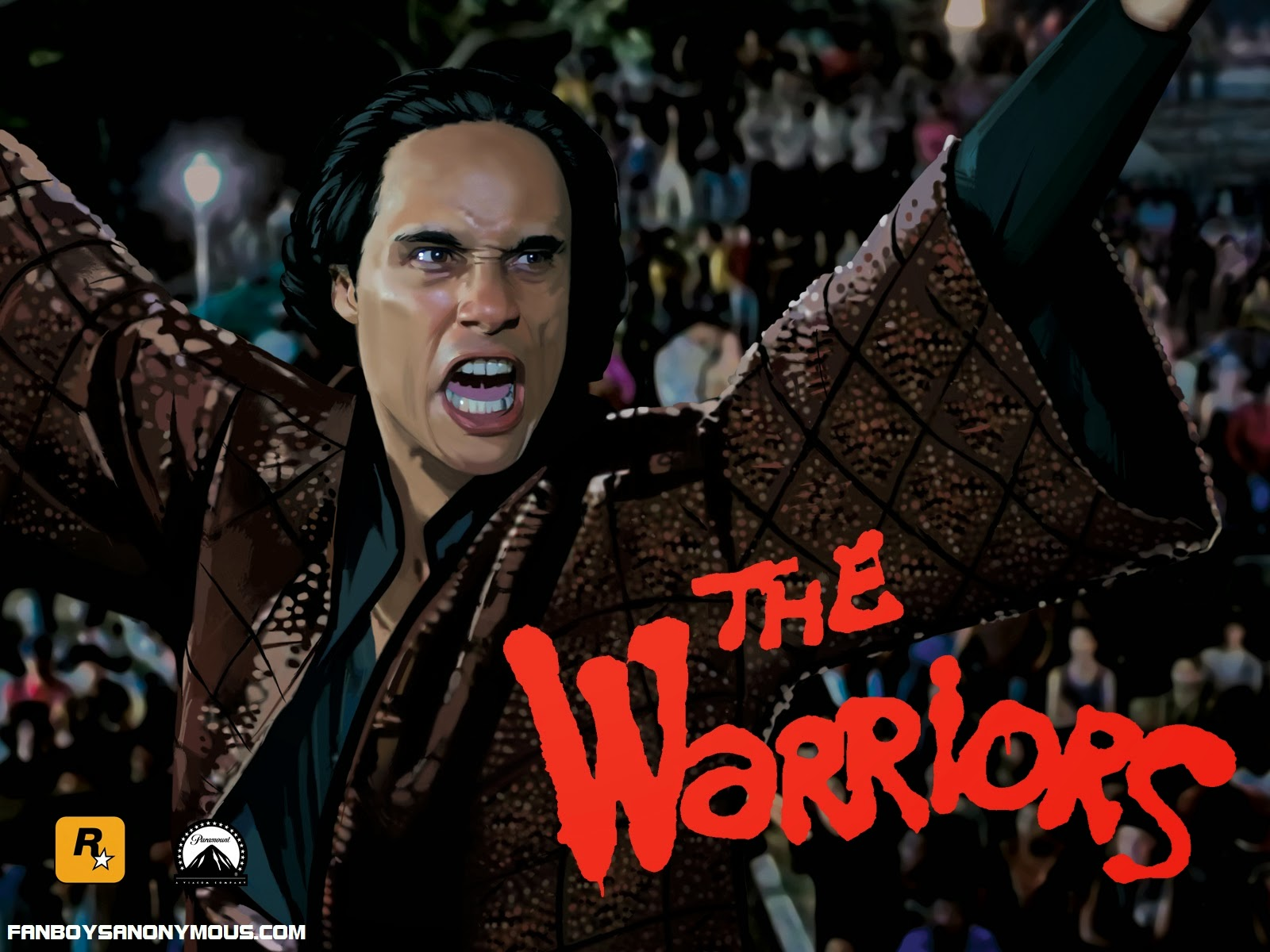 Rockstar concept and cover art for PS2 videogame The Warriors with Roger Hill as Cyrus