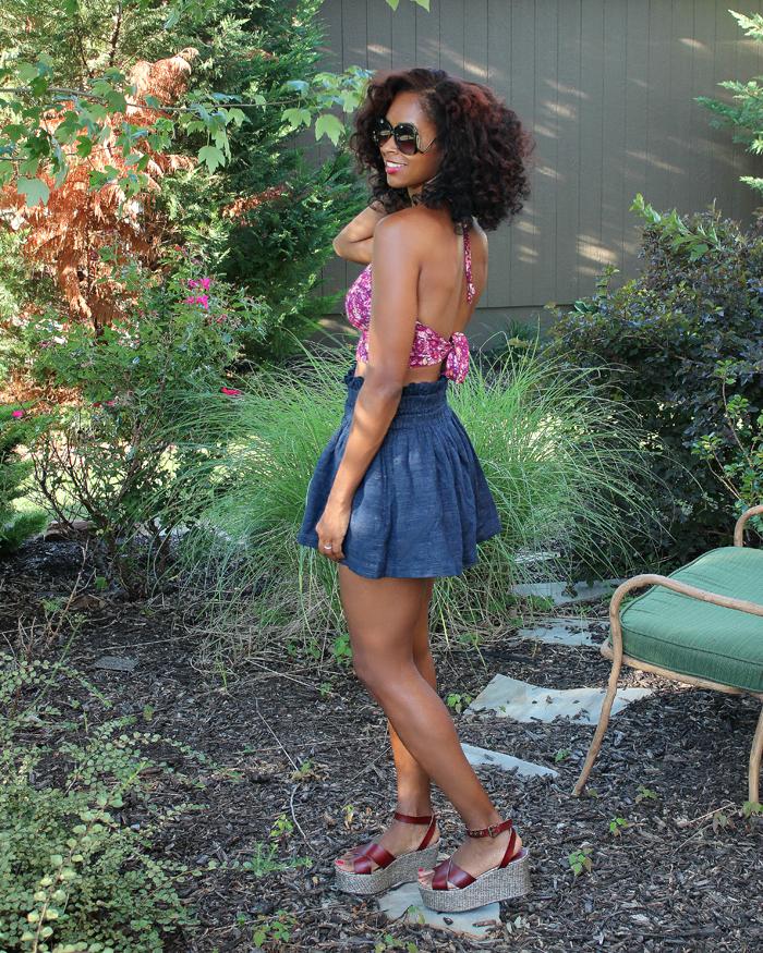 forever 21 smocked floral halter h&m hm linen shorts forever21