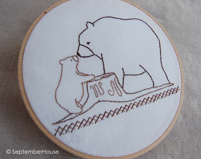 baby bear hand embroidery pattern