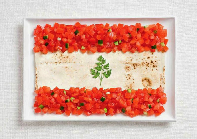 18 National Flags Made From Food - Lebanon