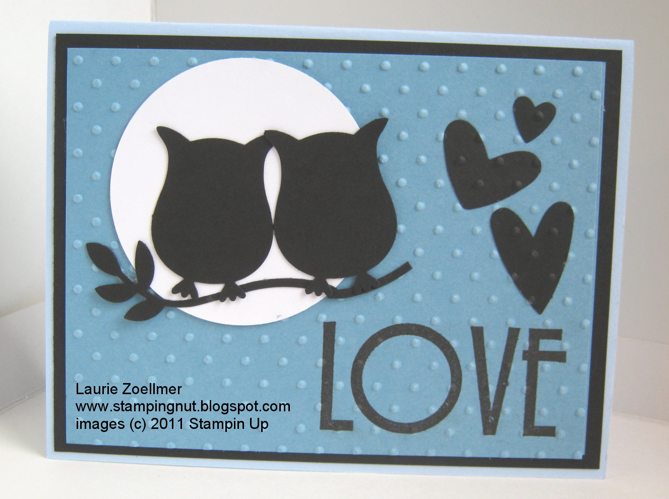 Laurie s stampin spot owl punch anniversary card