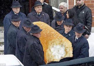 Twinkie funeral - pall bearers carry dead Twinkie