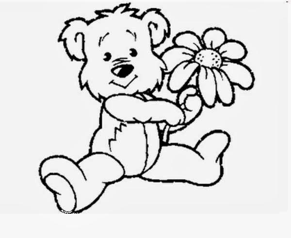 Desenhos de Ursinhos - Com Flores e Borboleta - Desenhos para colorir