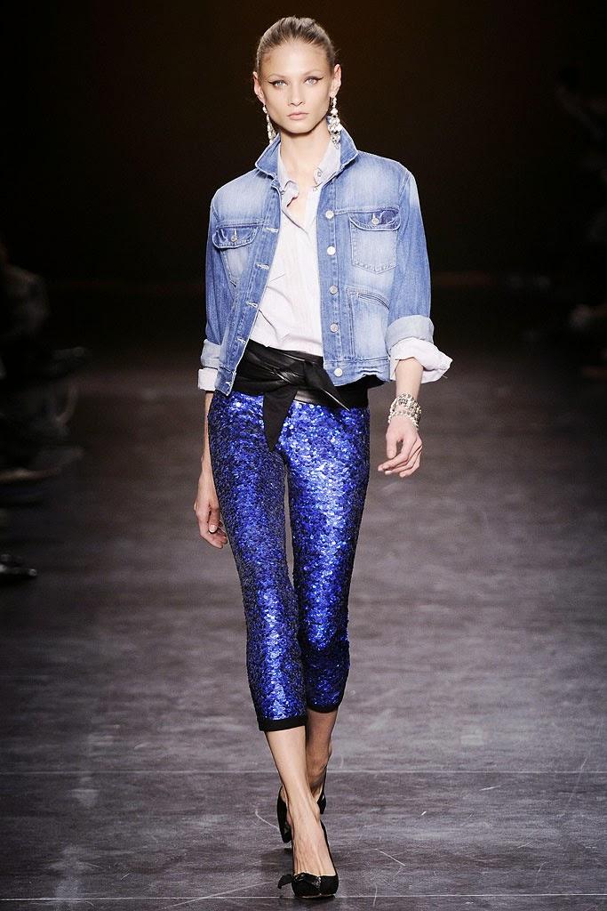 Isabel Marant FW 10-11 pantalon glitter y chaqueta vaquera