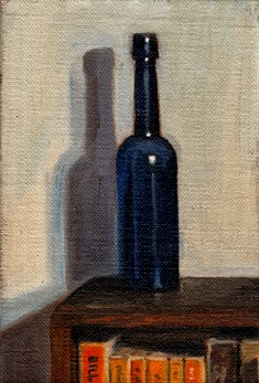 Oil painting of a blue castor oil bottle on top of a wooden bookcase with a curved edge.  The tops of a number of paperback books are visible.