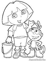 Gambar Dora The Explorer Dan Boots Untuk Diwarnai